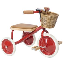 Banwood Trike Driewieler - Red - met duwstang en mandje