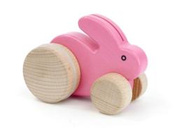 Bajo Houten konijntje op wielen, roze