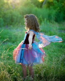 Feeënjurk met vleugels blauw/magenta, 5-6 jaar