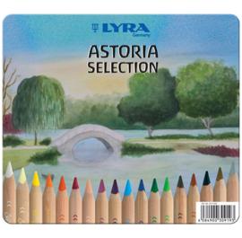 Lyra Kleurpotloden Super Ferby ongelakt, Astoria Selection, 18 stuks in blik + Gratis puntenslijper