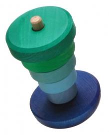 Grimm's houten kleine Stapeltoren tuimelaar, blauw/groen, 6-delig, 13cm