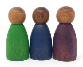 Grapat 3 Houten Nins poppetjes, Donker, Koele Tinten