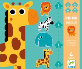 Djeco 4 puzzels, 3-4-5-6 stukjes, Jungle, 2+