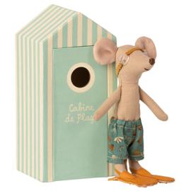 Maileg grote broer muis in strandhuisje - Big Brother in Cabin de Plage