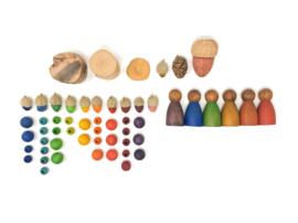 Grapat 3 Houten Nins poppetjes, Donker, Warme Tinten