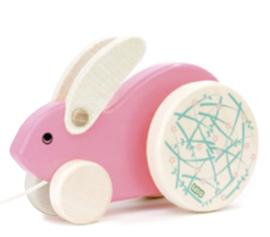 Bajo Houten trekdier, konijn, roze