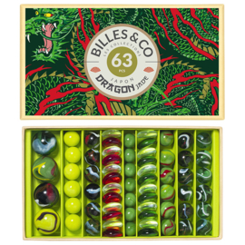 Billes & Co Knikkers in doosje, Draak/Dragon Jade, 63 stuks