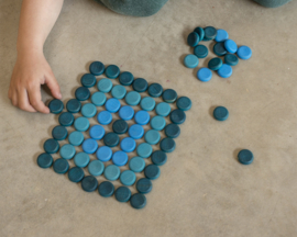 Grapat Mandala Munten Blauw, 36 stuks