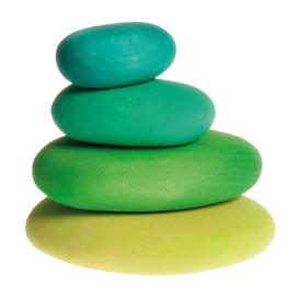 Grimm's bouwset 4 houten stenen, Mos/Groen