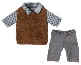 Maileg Kledingset Shirt met Pullover en Broek voor Teddy Dad, 25cm