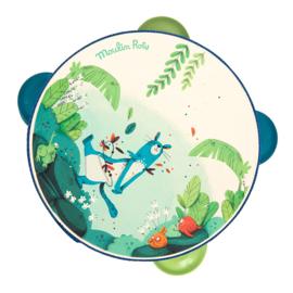 Moulin Roty Houten Tamboerijn 'Dans la Jungle' Blauw