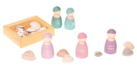Grimm's 5 houten Rekenvriendjes in een bakje