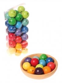 Grimm's 36 gekleurde houten kralen, diameter 30 mm