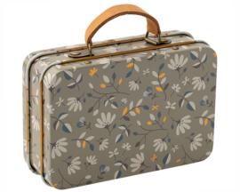 Maileg metalen koffertje bloemetjes, Merle Grijs