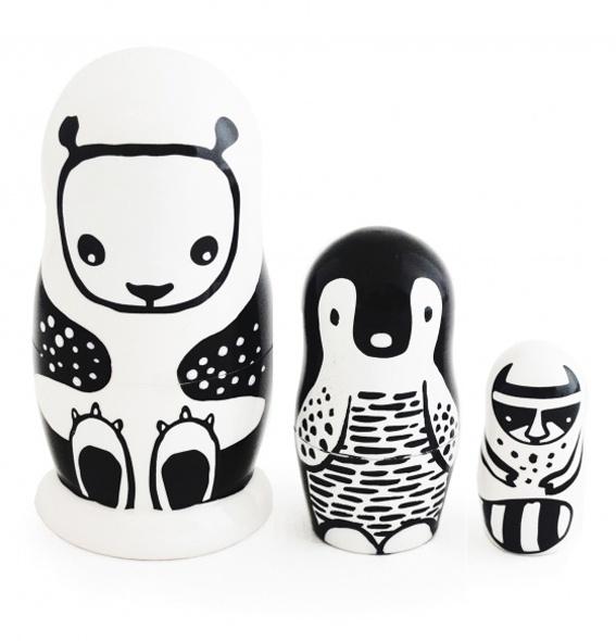 Wee Gallery Matroesjka, zwart-wit dieren, Nesting Dolls