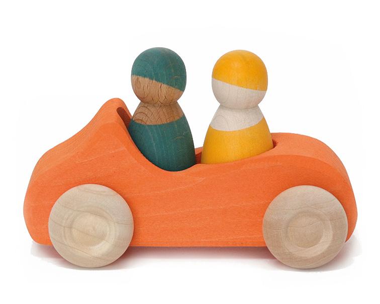 Grimm's houten Cabrio met 2 Poppetjes, Oranje