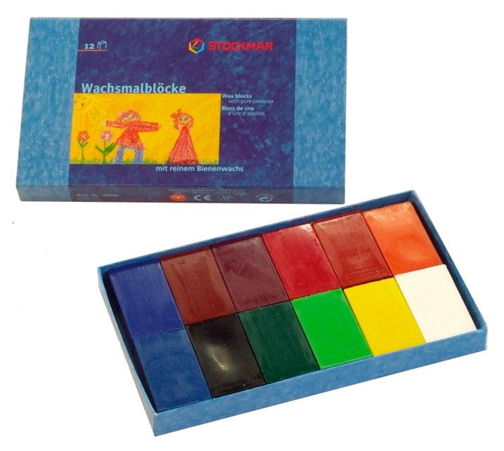 Stockmar Bijenwaskrijtjes, blokjes 12 kleuren in doosje