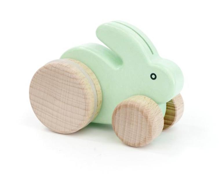 Bajo Houten konijntje op wielen, mint