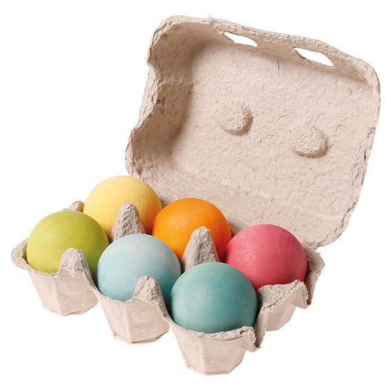 Grimm's 6 houten ballen in eierdoosje, pastel