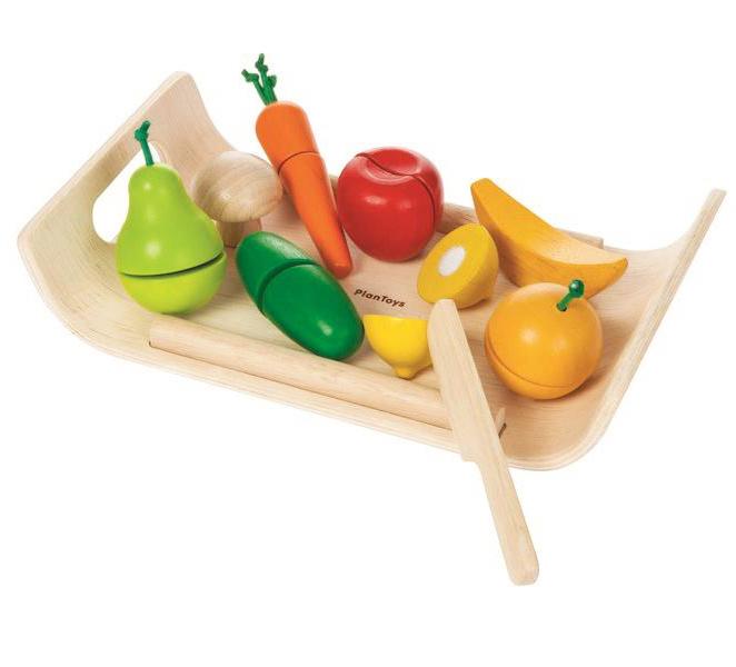 Plan Toys Houten Snijset Groenten en fruit