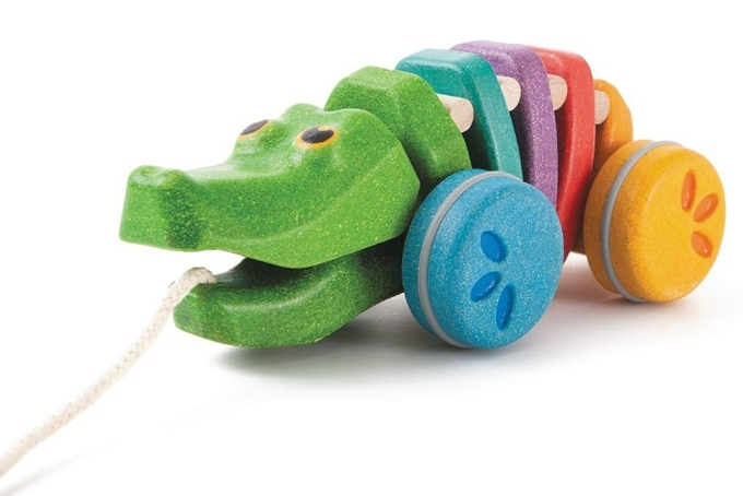 Plan Toys Trekdier Krokodil, Dancing Alligator Rainbow