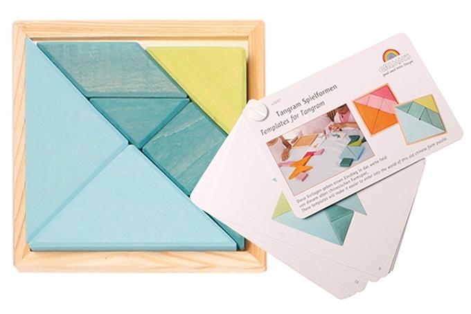 Grimm's houten Tangram met voorbeeldenboekje, blauw-groen