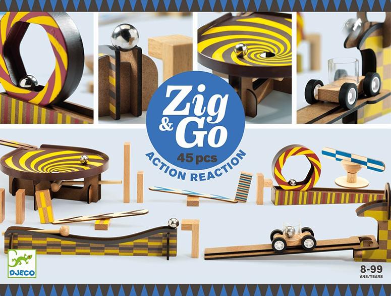 Djeco Zig & Go, Actie-Reactie-Baan, 45-delig