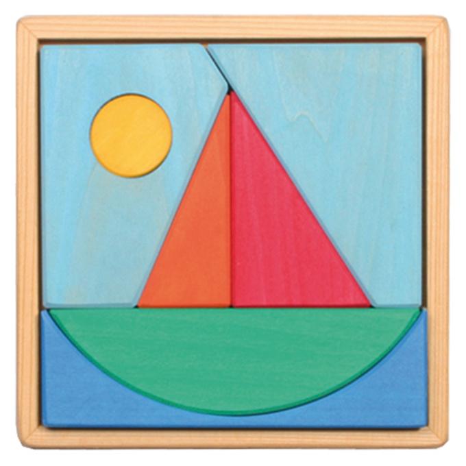 Grimm's houten Puzzel en Blokkenset, Zeilboot
