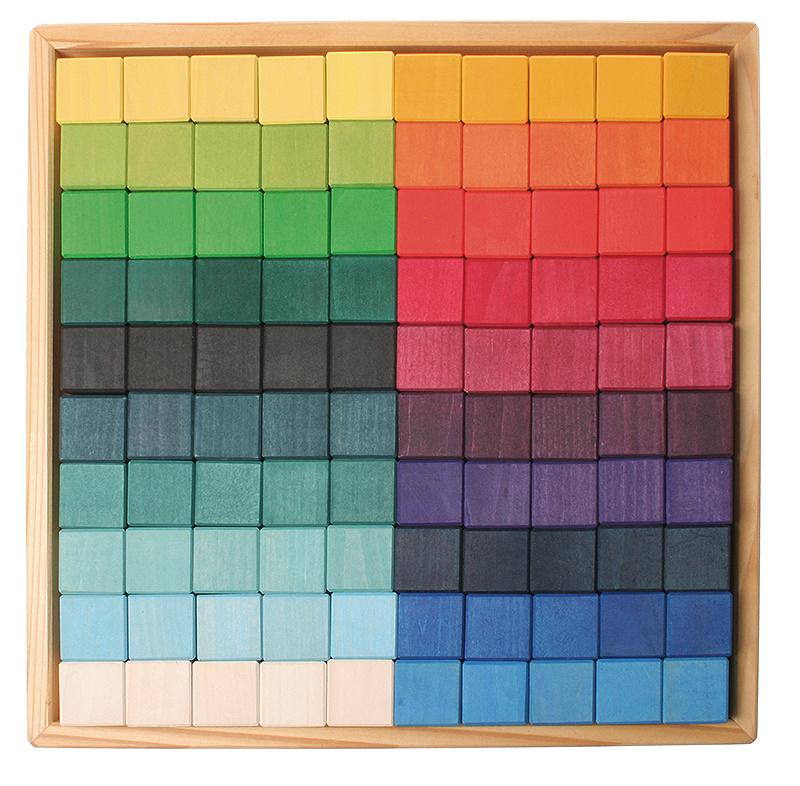 Grimm's grote vierkante blokkenset 100-delig
