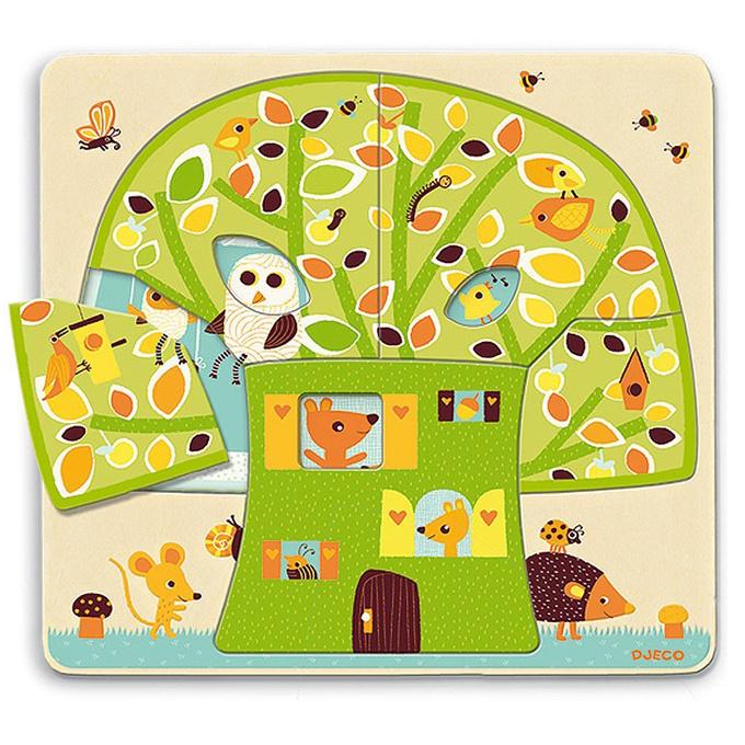 Djeco Houten 3 lagen puzzel, Boomhuis, Chez Nut