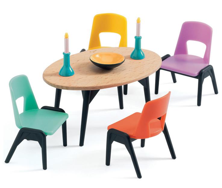 Djeco Poppenhuis Eetkamer tafel met stoelen