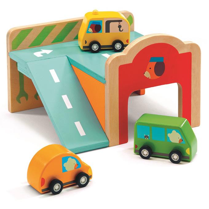 Djeco Houten Minigarage met autootjes