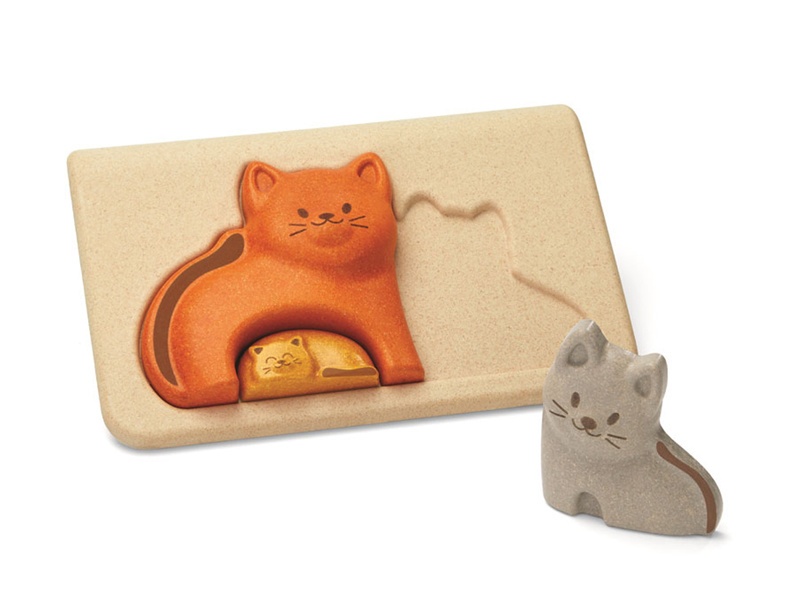 Plan Toys houten puzzel poezenfamilie