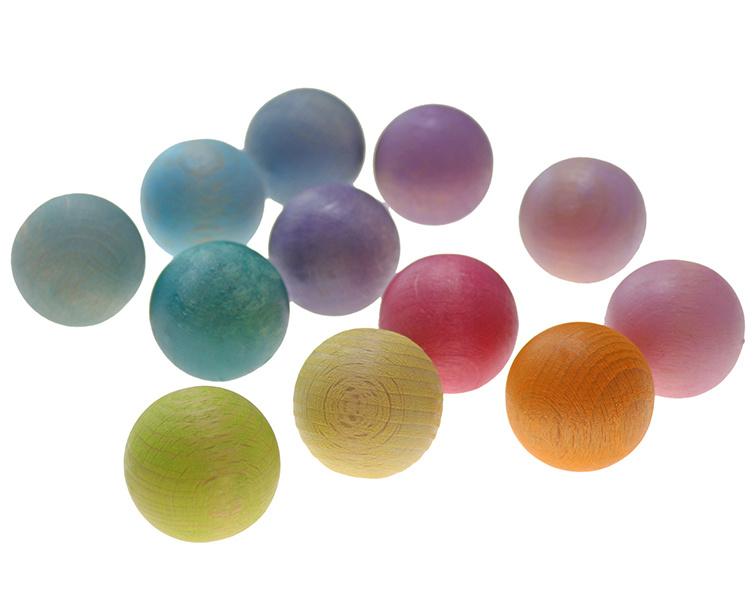 Grimm's 12 houten ballen klein, Pastel
