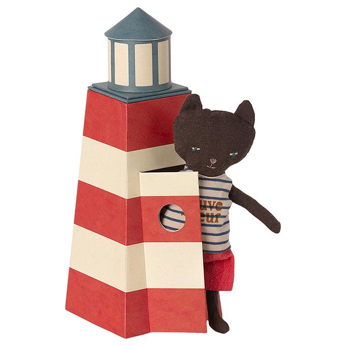 Maileg knuffel poes Strandwacht in vuurtoren - Sauveteur, Tower with cat