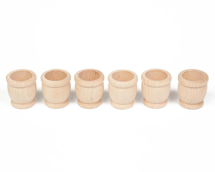 Grapat 6 houten bakjes, Mates, Naturel