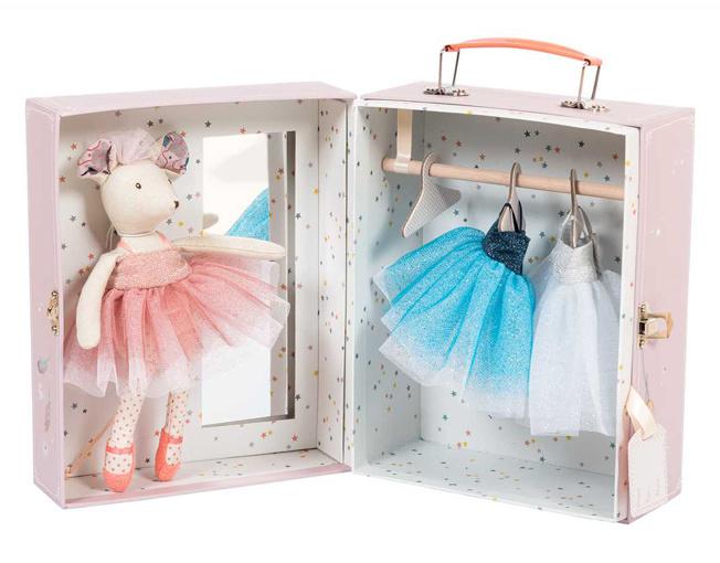 Moulin Roty Ballerina muis in verkleedkoffertje