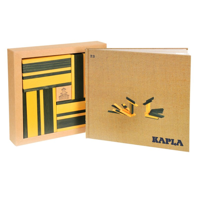 Kapla 40 plankjes groen en geel met voorbeeldboek