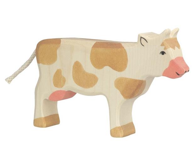 Holztiger Houten koe bruin wit