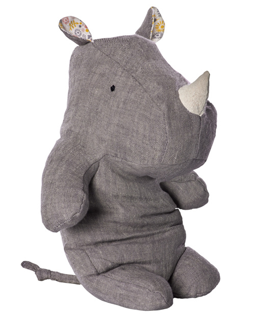 Maileg Knuffel Neushoorn Safari Friends Rhino Medium, Grey
