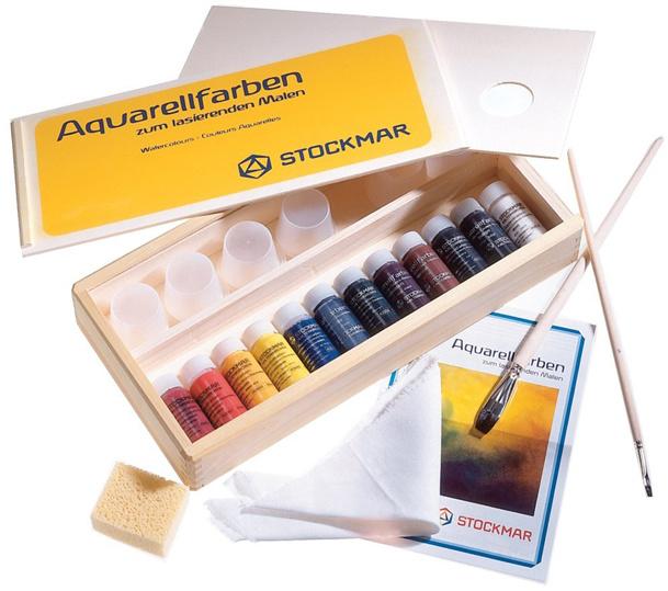 Stockmar Aquarelverf 12 kleuren a 20ml in houten kist.
