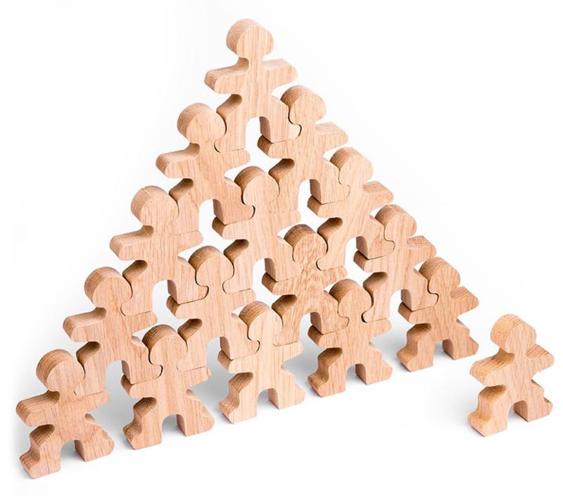 Flockmen houten figuurtjes 16 stuks