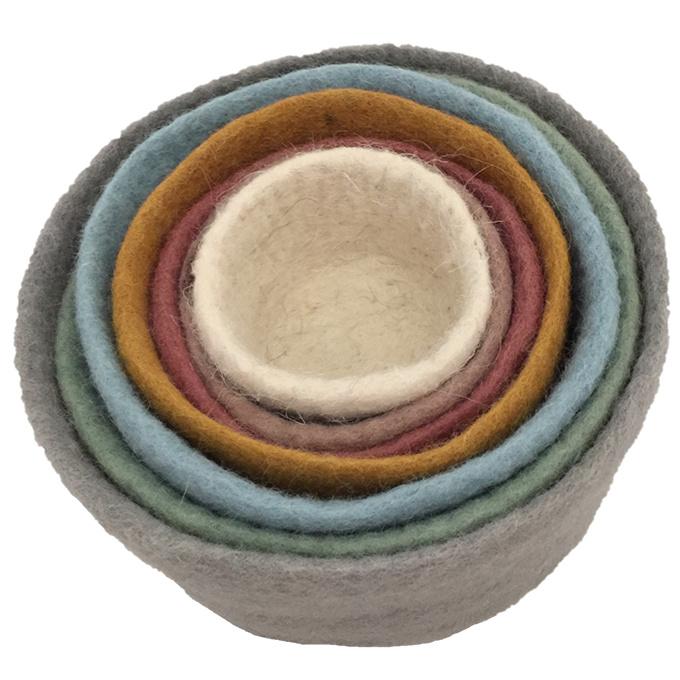 Papoose Stapelbakjes, Wolvilt, diameter 20 cm, hoogte 13 cm, Earth colours