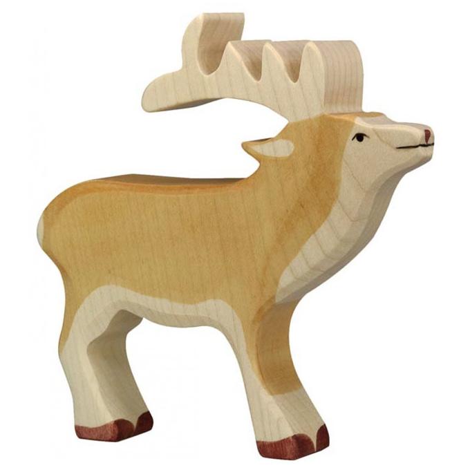 Holztiger Houten Hert met gewei