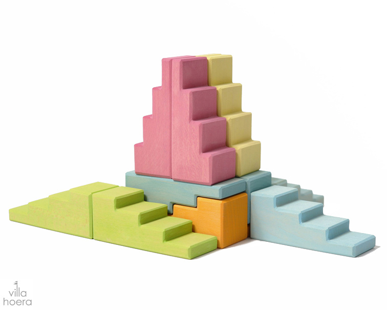 Grimm's Blokkenset Trappen en Daken Pastel, 12 delig