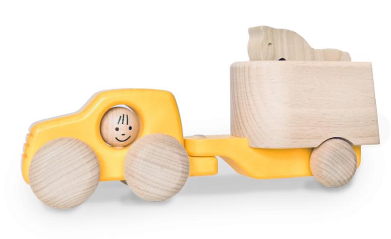 Bajo Houten Jeep met paardentrailer, geel