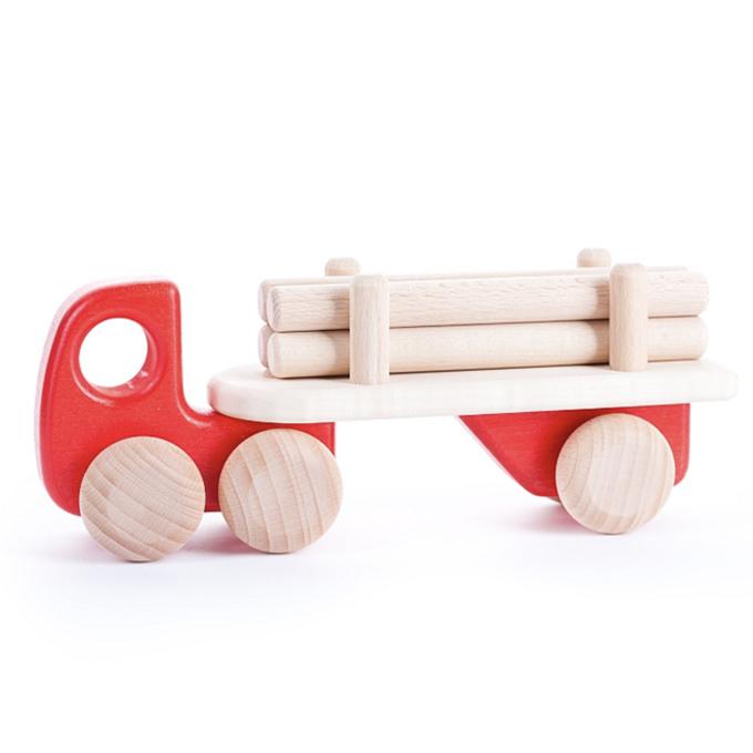 Bajo Houten vrachtwagen met aanhanger, rood