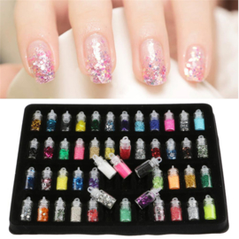 Nieuwe 48 MIX Kleuren Nail Art Stickers Pailletten 3D Glitter poeder Manicure Set DIY Shiny Kralen Pailletten Nail Art Decoratie Set