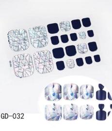 teen nagel stickers nailart geometrische zilver nail art sticker kalknagel verbergen teennagel