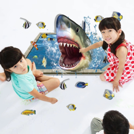 Haai 3D vloer sticker shark